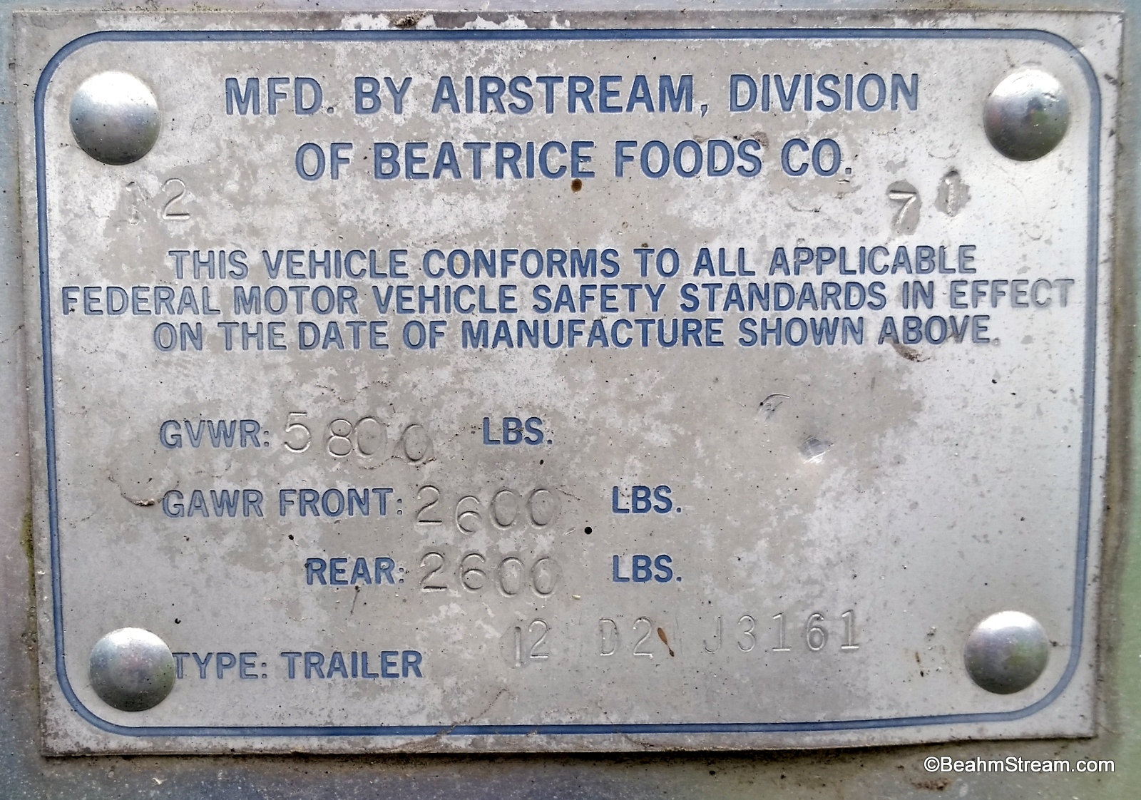 Reading the serial number question - Airstream Forums